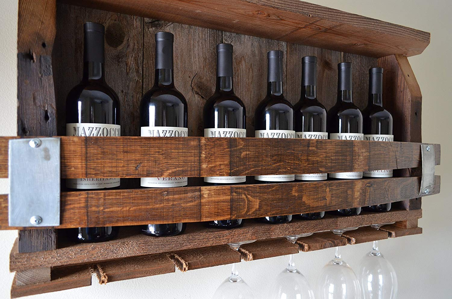 Barn Wood Wine Rack - with Wine barrel staves