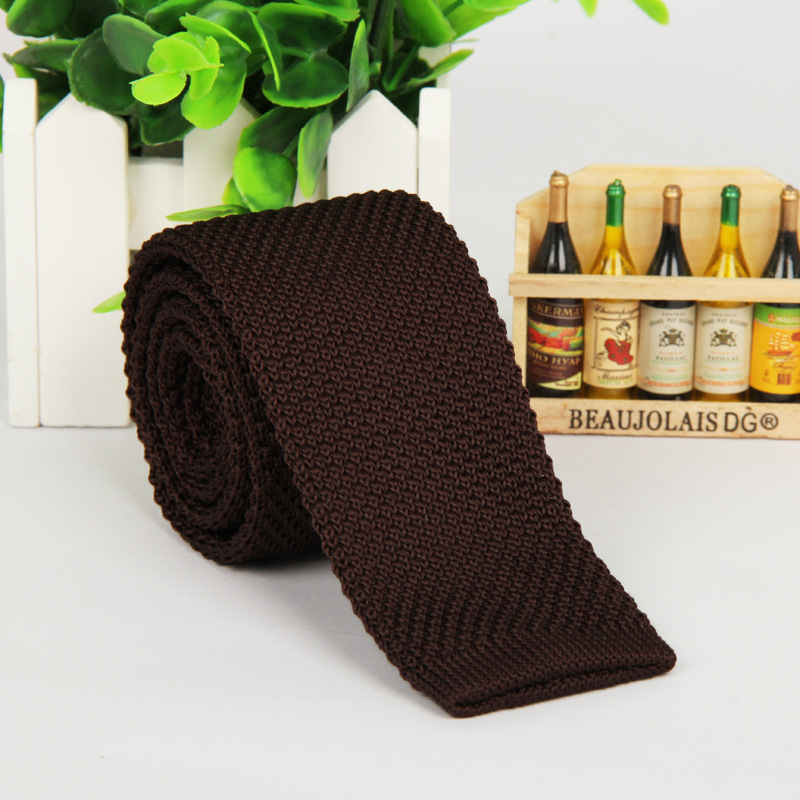 NB-487 Fashion Necktie Polyester One Color Men's Knitted Tie With Custom Label
