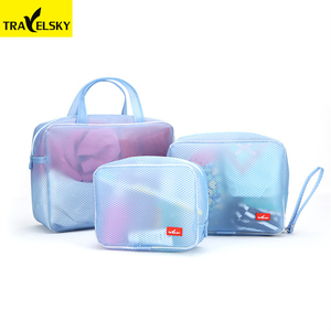 Wholesale waterproof hanging cosmetic toiletry case bag pouch travel makeup organizer bag set