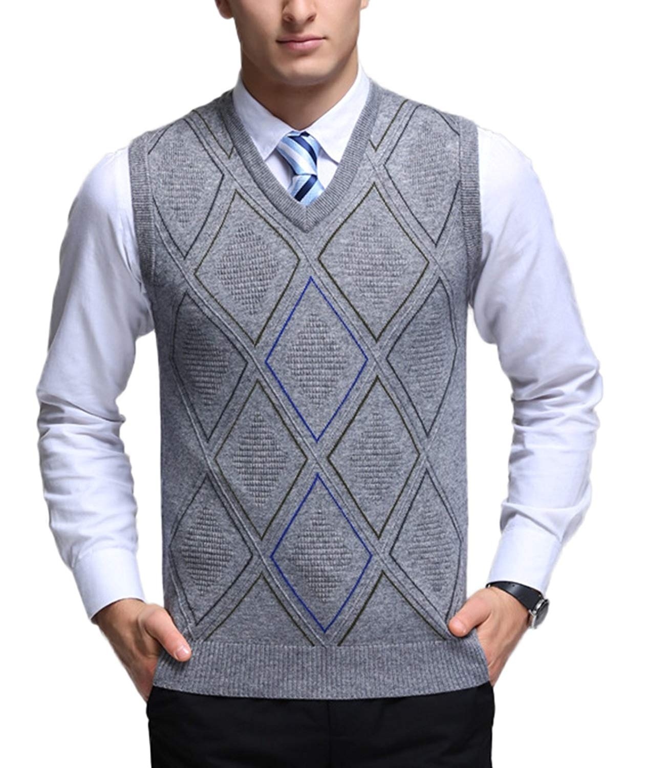 9a689934ea0fb5 Get Quotations · Men s V-Neck Argyle Pattern Sweater Vest Cardigan Knitted  Waistcoat