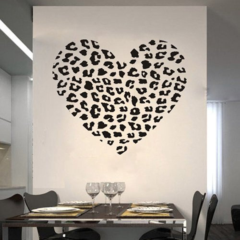 "23.6"" X 25.6"" Cheetah Spot Print Heart Wall Sticker Decal for Home Decor nursery kids room removable quote vinyl wall decals stickers"