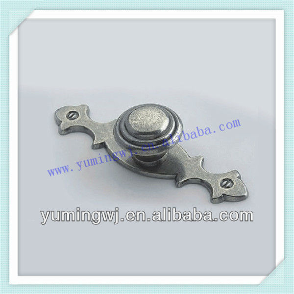 ancient zinc knob with beautiful leaf flower pattern/gray-white color ancient knob&handle/ancient zinc furniture handle