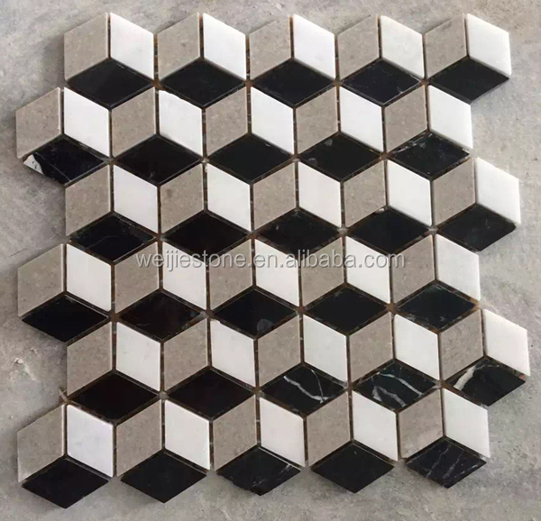 Rhombus 3d Shaped Mosaic Tiles Black and White Construction Material