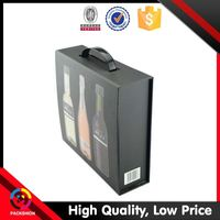 High end suitcase cardboard wine boxes with plastic handle