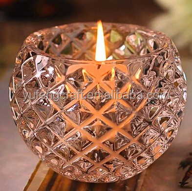 small crystal round votive jars for candle bar deco