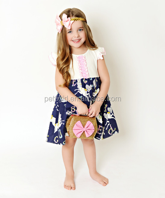 2016 New Girl Dresses With Blue carousel Girl Casual Dress Toddler Girls Clothing GD90422-10