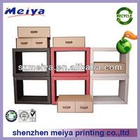 2013 modern cardboard bookcase with drawers/design bookshelf,wall hanging shelf,shopfittings,displays