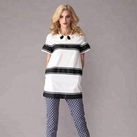 Pretty Steps 2018 High Quality Short Sleeve Tops Casual Fashion White And Black Ladies Long Tops