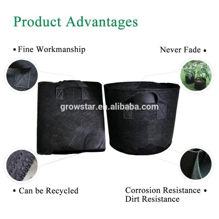 5-Paquete de 5 galones las plantas crecen bolsas/aireación tela vegetal Gow ollas con asas