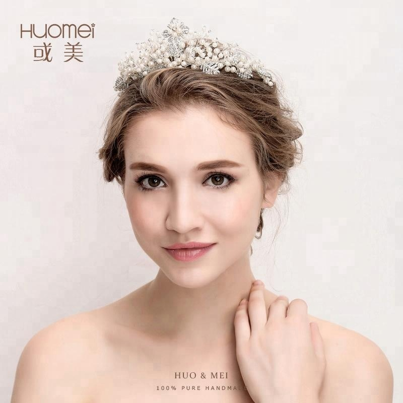 Newest Trend Crystal Hair Accessories Jewelry Wedding Bridal Princess bridal Pearl Tiara <strong>Crown</strong>