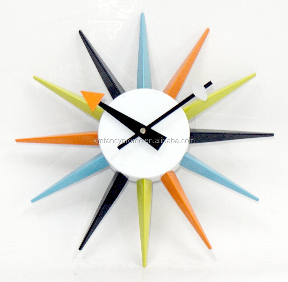 Coloured sun shape Home Decorative Wall Clock