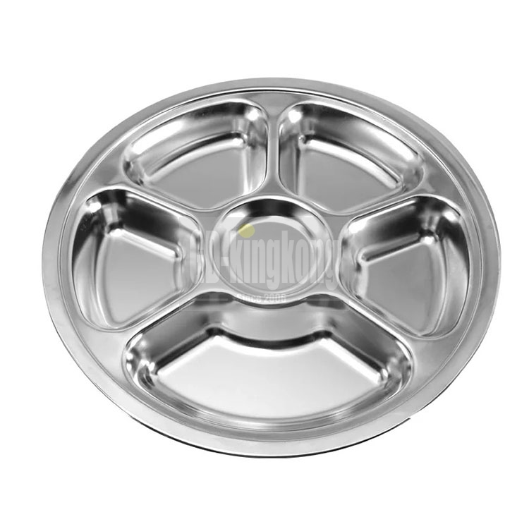 GUANGDONG KINGKONG 4 compartments Stainless Steel Canteen Serving Tray /Dinner fast  round food plate