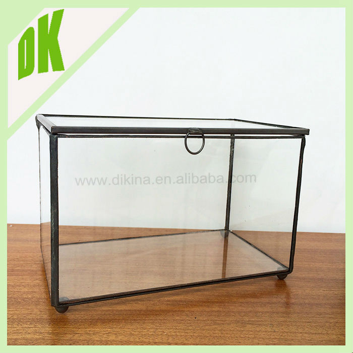 Aq29 Clear Bevel Square Glass Jewelry Box With Pyramid Top And