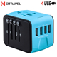 Powerful electronic gift promotion USA EU UK plugs 4 USB wall charger AC power cell phone 3.4A universal world travel adapter