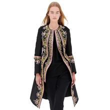 Dámský černý kabát s květinovým vzorem podél rozepínání, velikost XXL