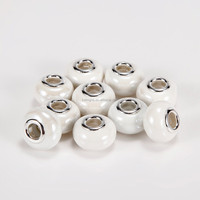 Hot Selling Porcelain 10 pcs White Color Glass Beads Loose Beads