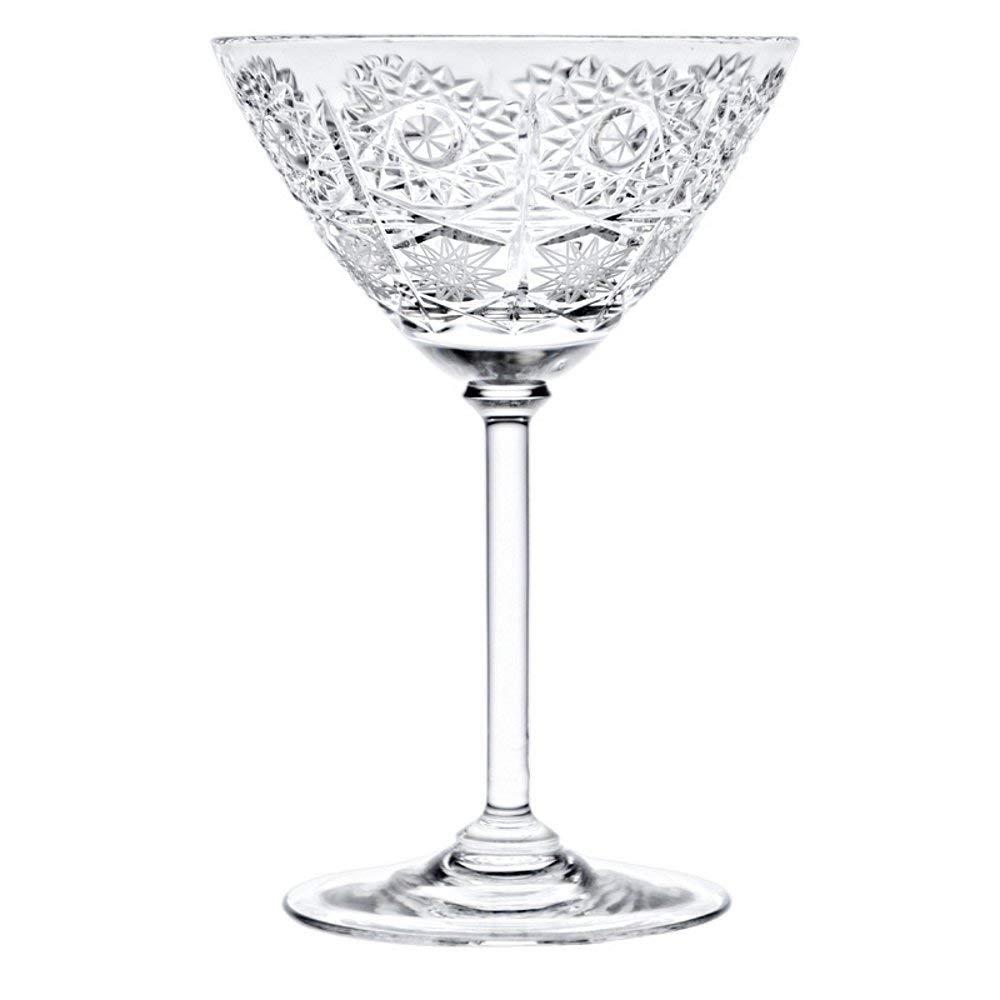 Bohemia Crystal 8560/11, 6Oz/180ml Crystal Cut Martini Cocktail Glasses, Beverage Glasses on a Long Stem, Cocktail Drinkware, Set of 6