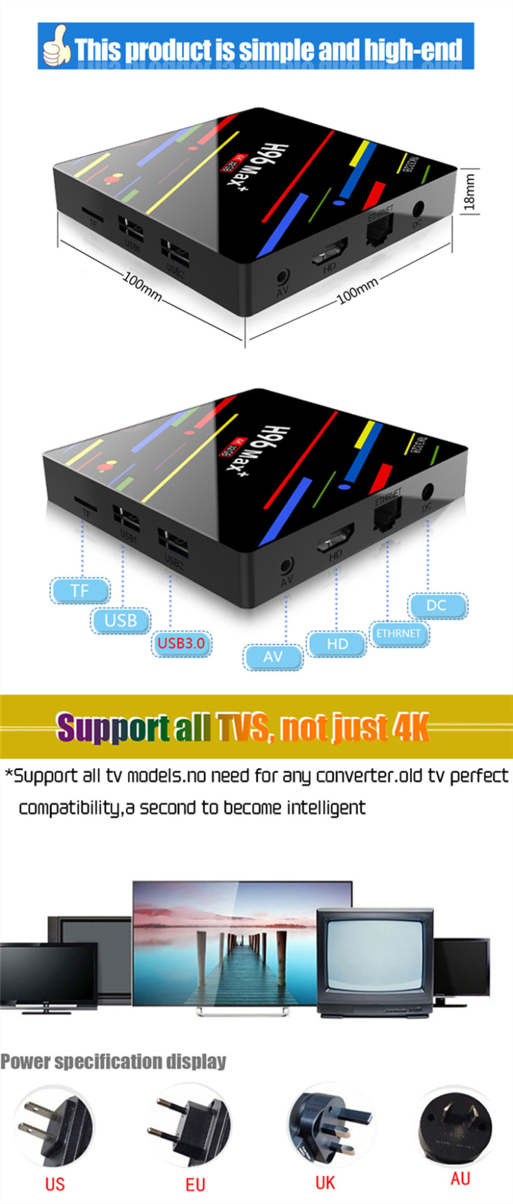 Rockchip 3328 Quad Core 4K @ 60 fps H96 Max+ Network Smart TV Box OEM/ODM Android TV Box