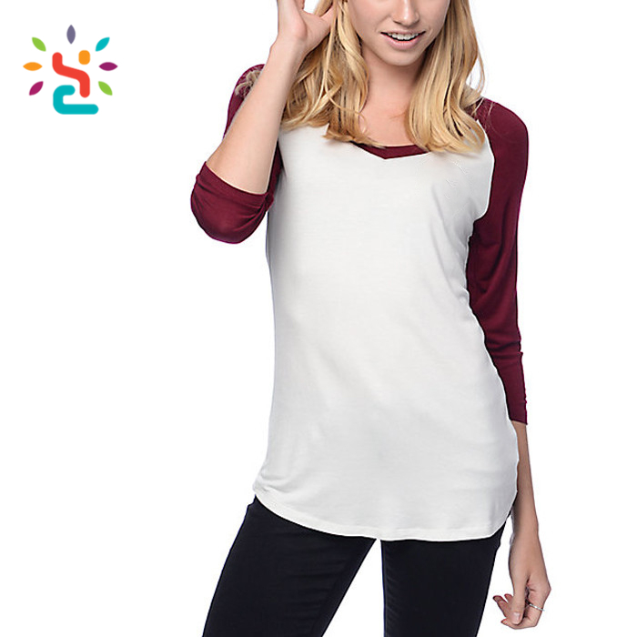 Raglan 3/4 sleeve women t shirt custom plain two tone shirts merino wool tshirt wholesale blank girls apparel factory