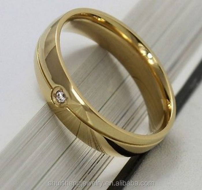 6mm Stainless Steel Ring Men Women Cz Sz 615 Yellow 24k Gold