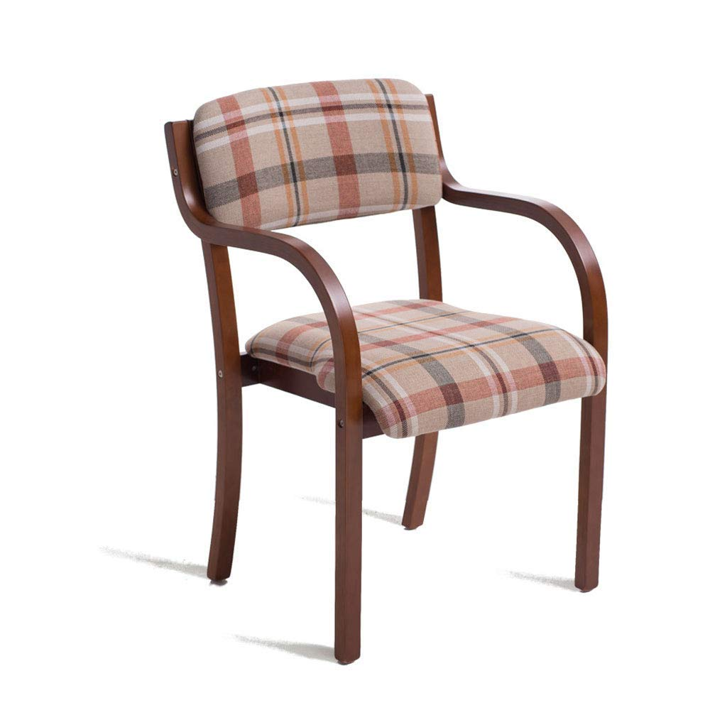 YAN JUNau Wooden Armchair with armrests, Pattern Cushions and Cushions, can be Used for Home and Business Brown's Tabletop Dining/Makeup/Learning Chair Kitchen/Dining Chair Size: 53X58X83cm ++