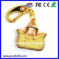 Ladies bag shape key chain jewel USB FLASH DRIVE