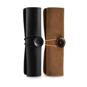 Custom Waterproof Durable Genuine Leather Pencil Case Roll Up Pen Marker Makeup Pouch Stationery Holder