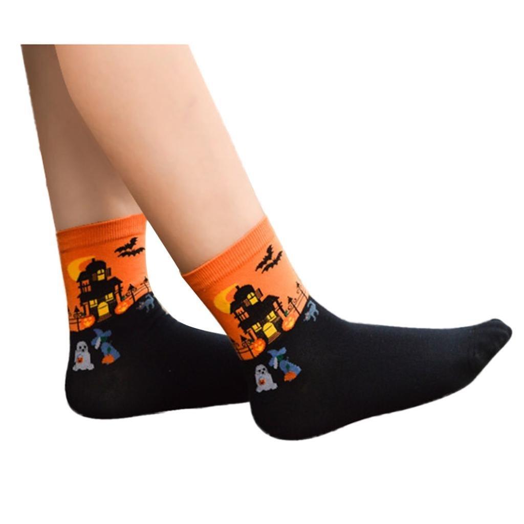 Rumas® 3D Cartoon Halloween Socks Lovers Cotton Socks Floor (orange)