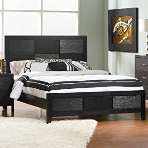 Queen Size Bed with Wood Grain in Black Finish