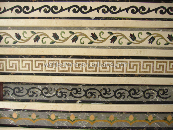 bathroom waterjet marble border well polished mosaic border line