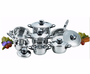 13pcs German Prestige Stainless Steel Cookware set with thermometer
