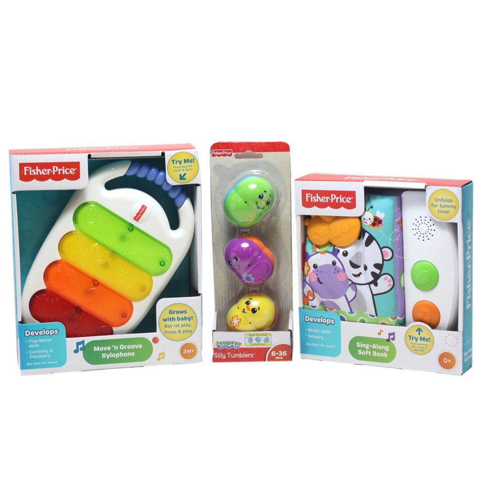 Fisher Price Move and Groove Xylophone, Silly Tumblers, and Sing Along Soft Book Baby Bundle 3 items