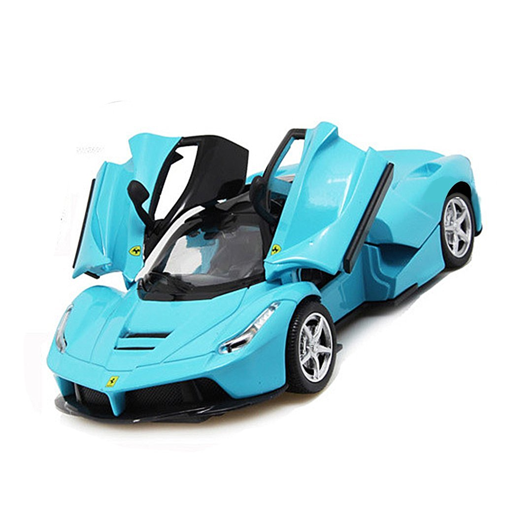KINGSEVEN Batmobile DC Super Vehicle Racers Car Model Kit Sports Car Toy Vehicle with Doors Open& Light and Music , Blue