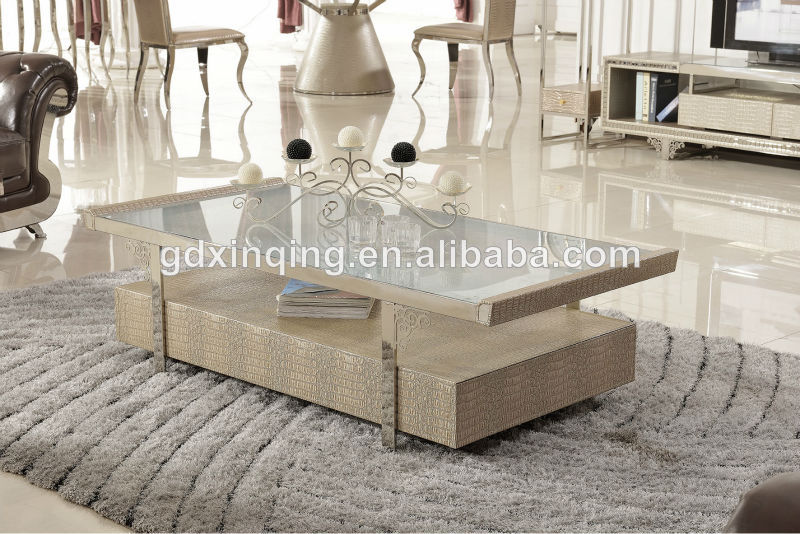 2017 Latest Design C379 Tempered Gl Top Mdf Covered With Crocodile Leather Draw Coffee Table