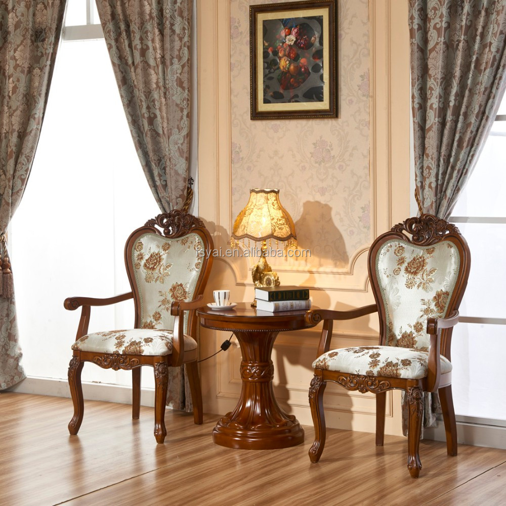 Europe style leisure hand carved solid wood dining antique for Wood dining room chairs with arms