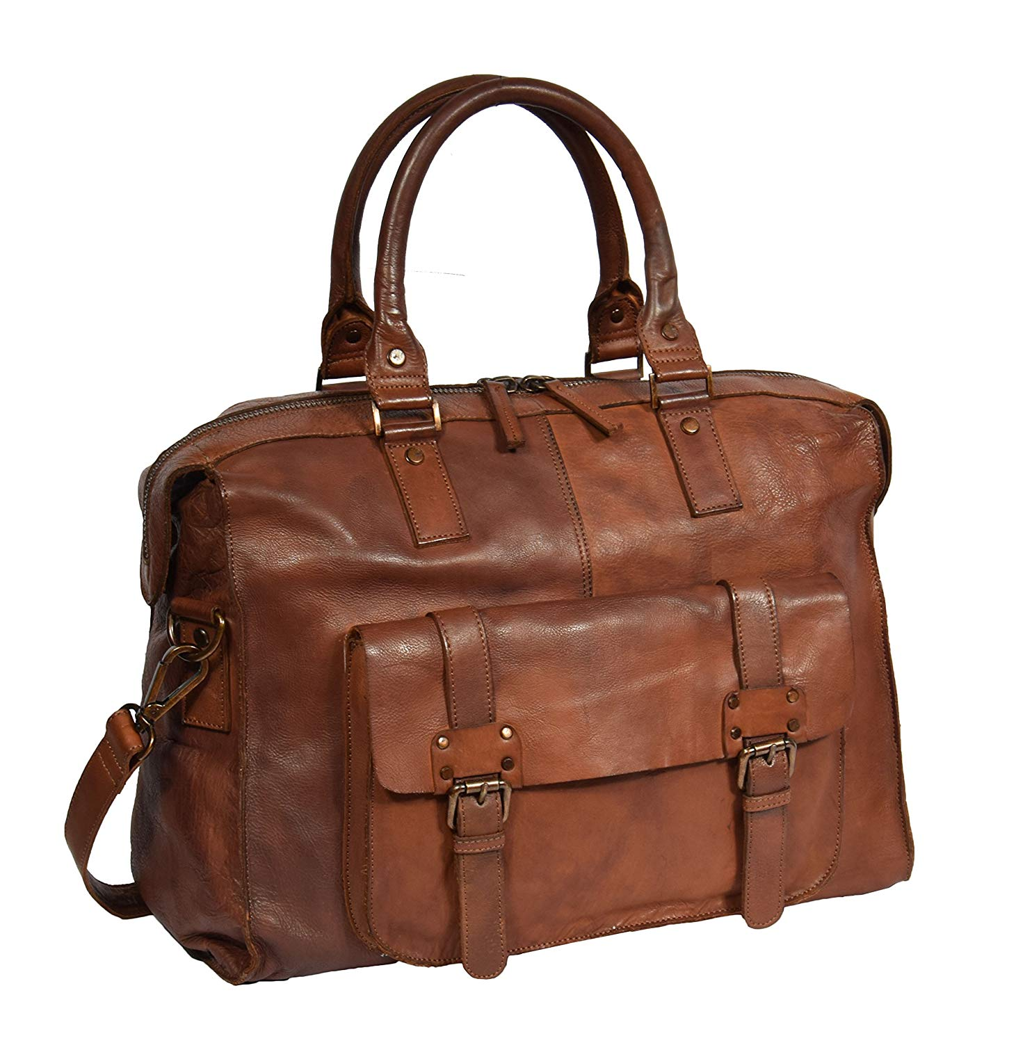 Real Leather Weekend Holdall Rust Brown Vintage Travel Cabin Overnight Bag Bali