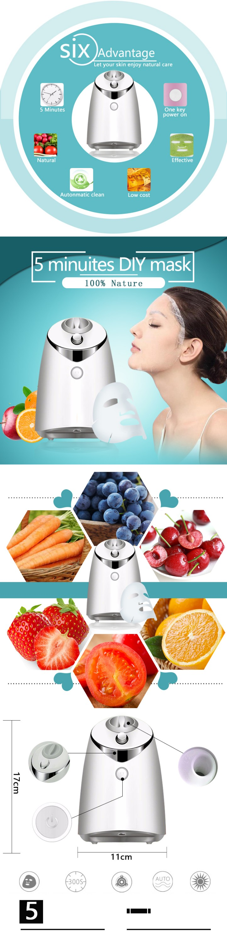 2017 private label gold collagen disposable household diy machine fruit facial mask maker