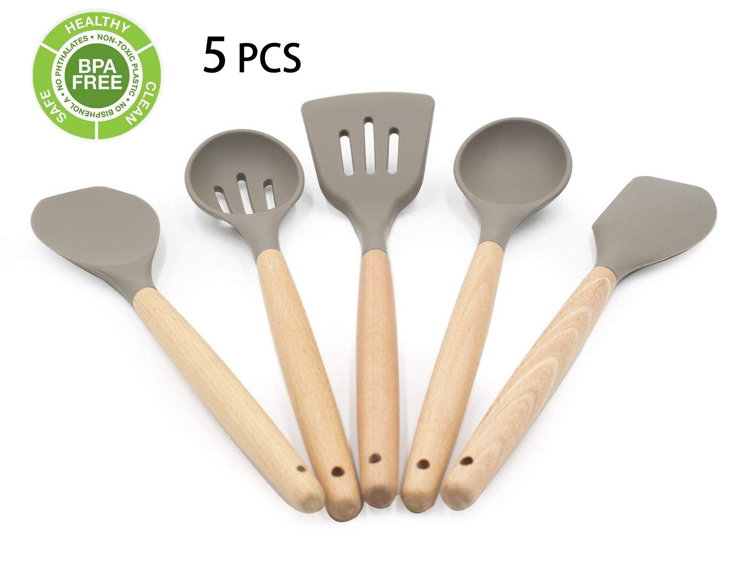 Silicone Cooking Utensil Set Classic 5-Piece Beech Wood & Silicone – Cooking/Pastry Tools for Non-stick Cookware, Brown