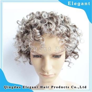 Natural Looking Curly Hair Thin Skin Indian Remy Human Gray Hair Wig