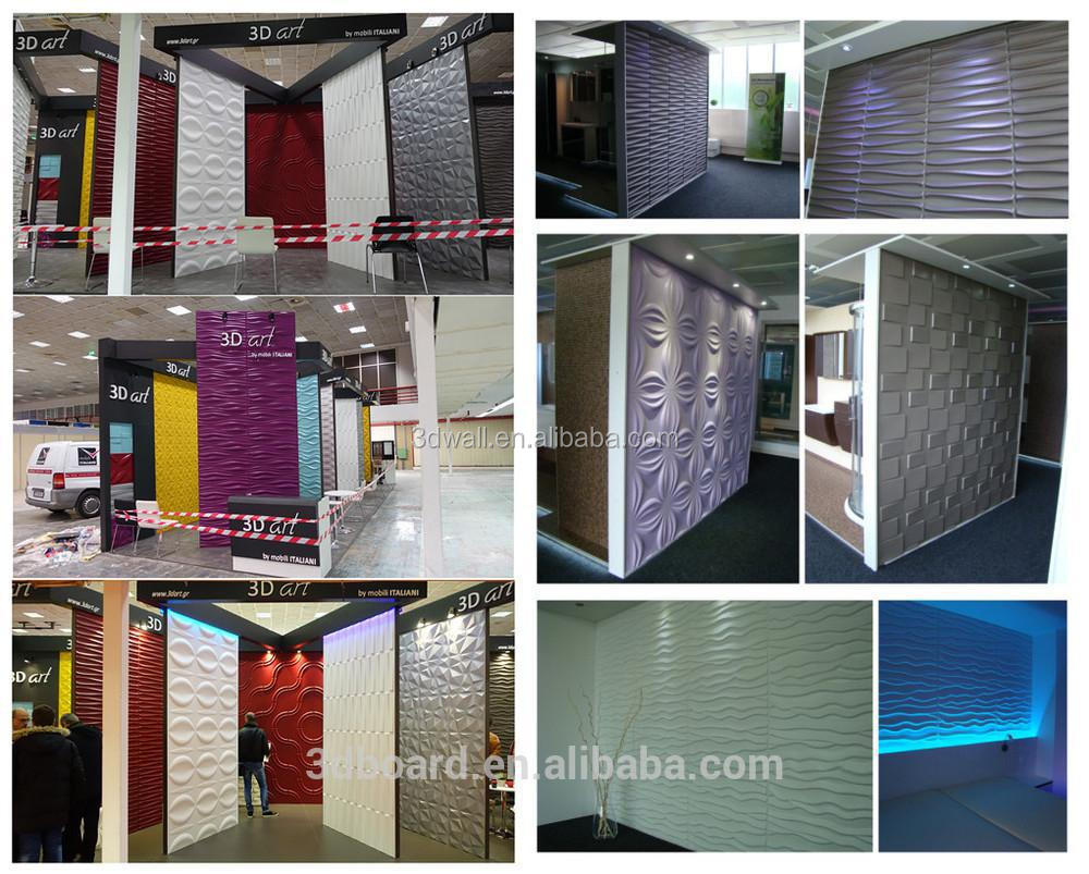 Interior decoration colorful 3d embossed bathroom wall covering panels