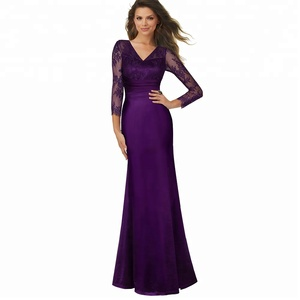 Ladies Vintage Lace Evening Gowns Formal Purple Mother Of The Bride Dress