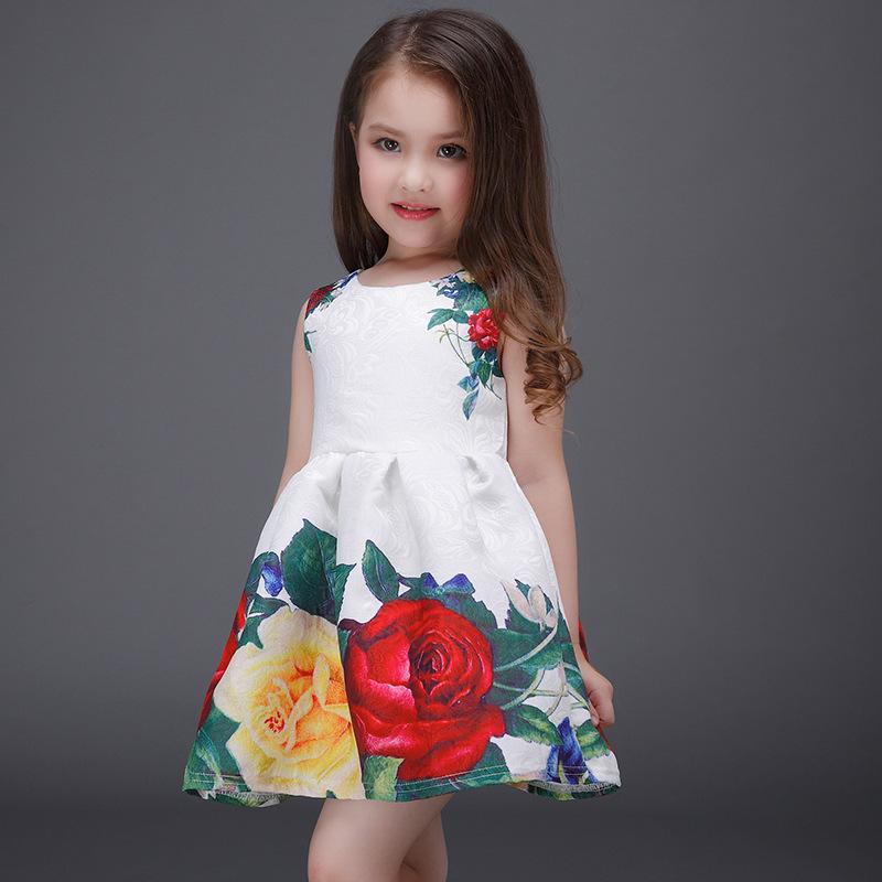 Floral Print Summer Girl Dress Flower Sundress Party Children Wear Kids Clothing