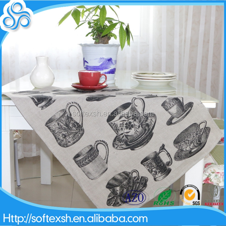 wholesale 50x70cm Retro cup white grey tea towels kitchen linen printed