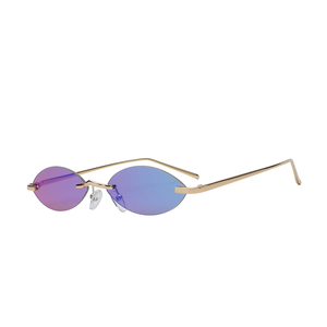 Small oval new model vintage design metal temple rimless fashion sunglasses