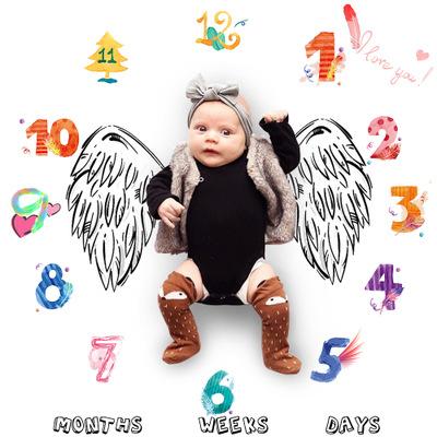 ベビー文字と数字スタイル綿の写真撮影の毛布月月新生児の写真の小道具ブランケット