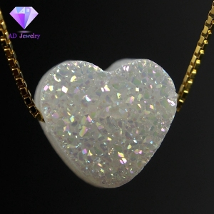 Fashion Jewelry Heart Shape Natural Agate Druzy Stone For Necklace