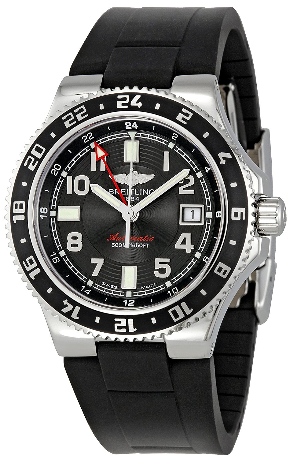 1bcac8c7c28 Get Quotations · Breitling Men s A3238011 BA38BKRD Black Dial Superocean GMT  Watch