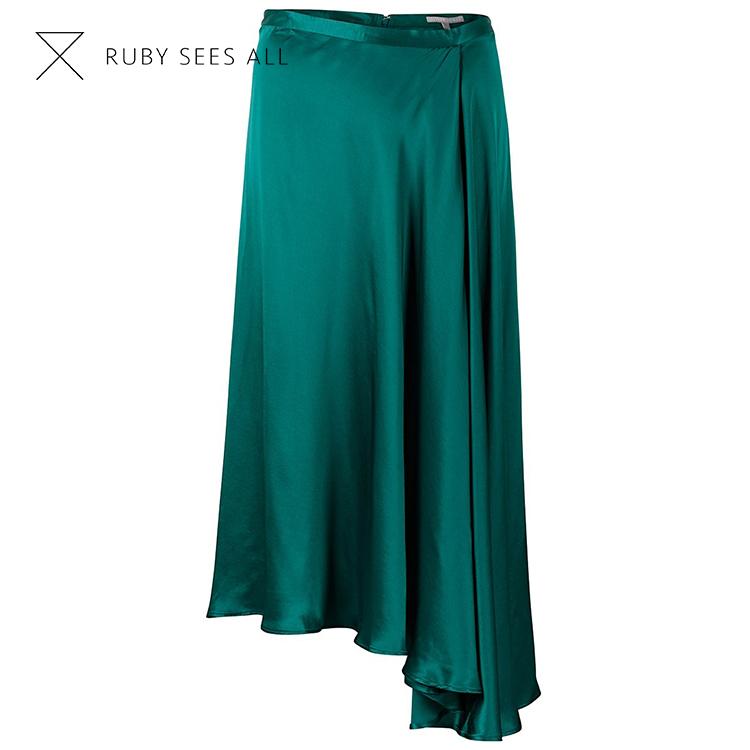 最新のスリムフィットデザインエレガントな女性マキシロングサテンスカート