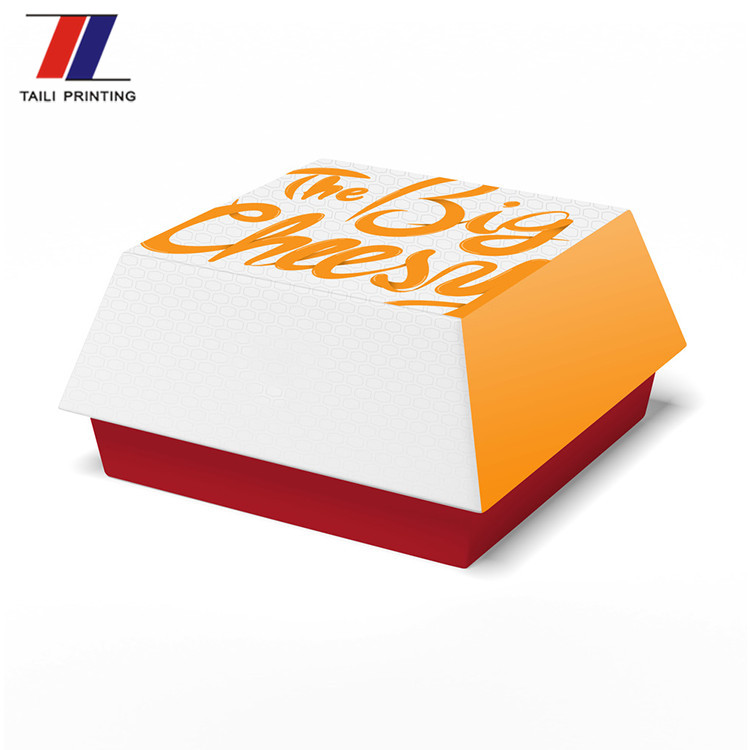 Disposable Packaging Cmyk Color Printing Paper Burger Box Template Cheese And Chicken Hamburger