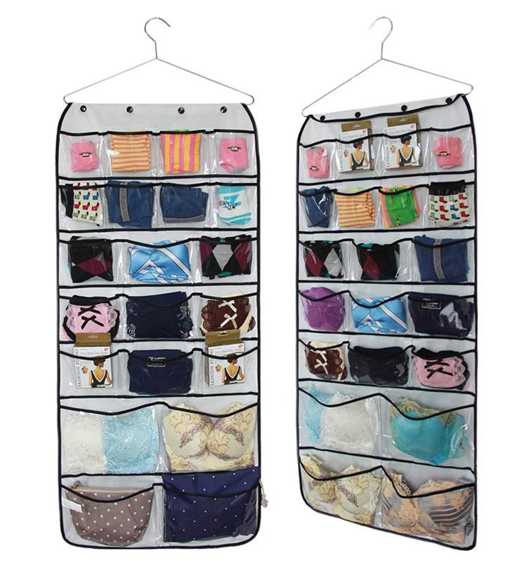 blanco bolsillos claro pvc no tejido organizador colgante del armario para la ropa interior